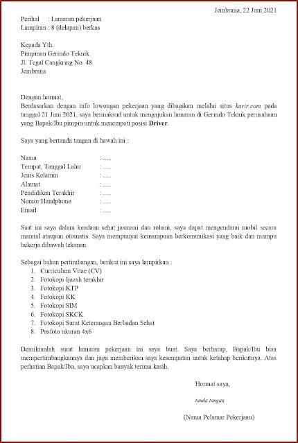 Contoh Application Letter Untuk Driver (Fresh Graduate) Berdasarkan Informasi Dari Website