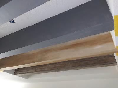 ceiling beams painting to look like wood