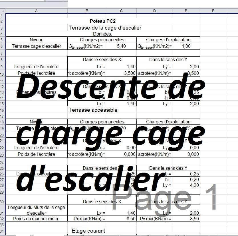 Calcul Descente De Charge Escalier En Excel Cours Génie