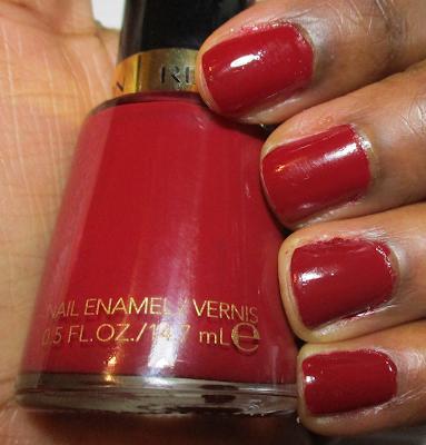 swatch of Revlon's 'Raven Red' nail polish on Dark Skin