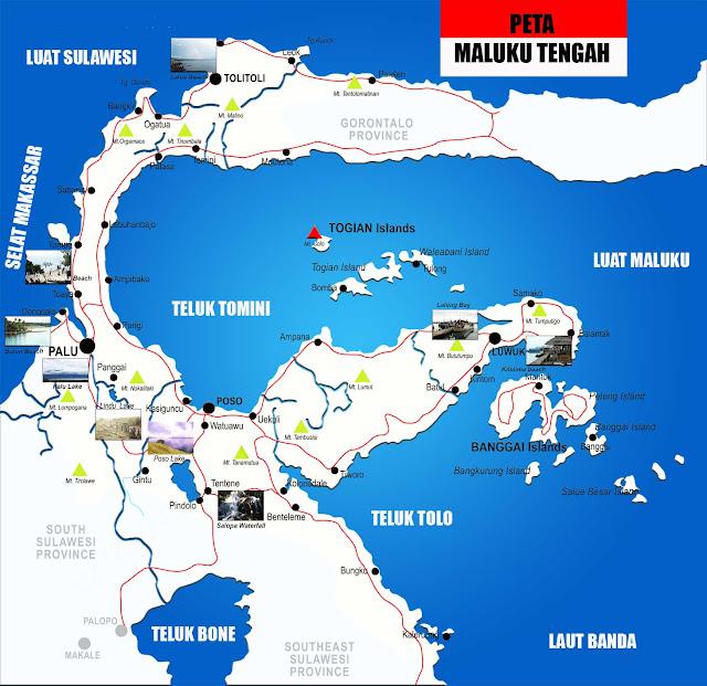 Gambar Peta Sulawesi Tengah lengkap 12 Kabupaten dan 1 Kota