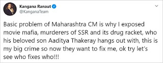 Kangna's Tweet on Aditya Thakre