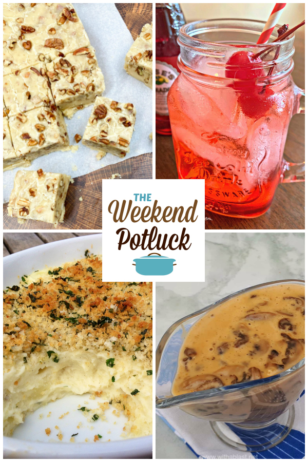 A virtual recipe swap with Butter Pecan Fudge, Shirley Temple Mocktail, Creamy Garlic Mashed Potatoes with Panko Topping, Homemade Mushroom Sauce and more!