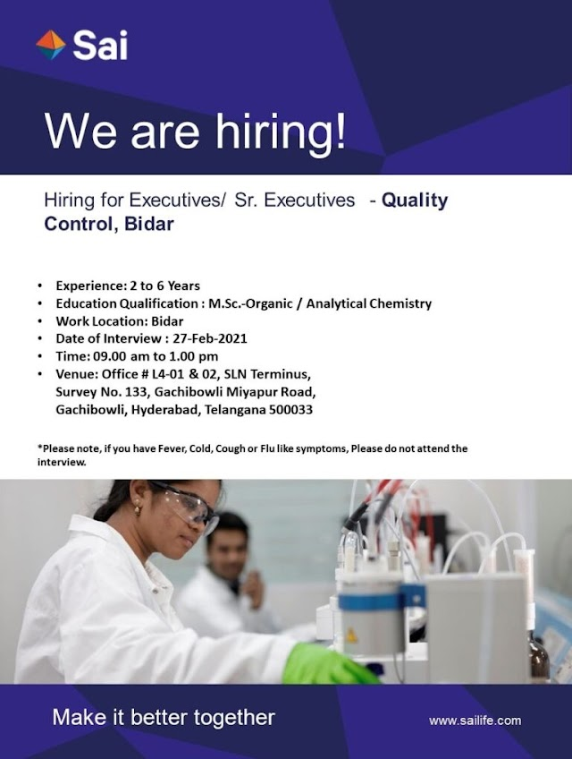 Sai Life Sciences | Walk-in interview for QC on 27th Feb 2021