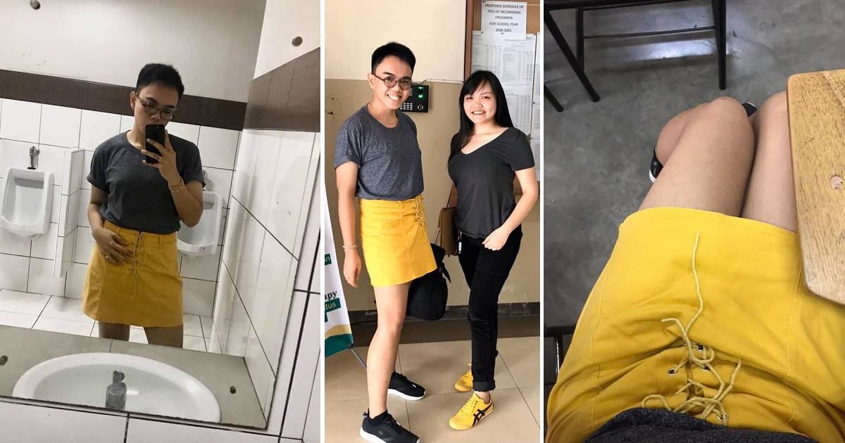 Brother wears skirt for sister, so she could wear his pants to take entrance exams