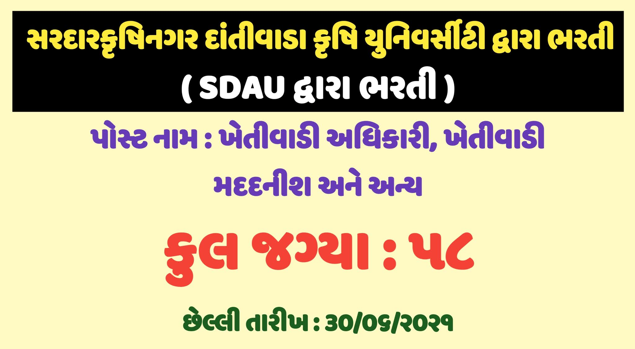 SDAU Recruitment 2021 for Senior Research Assistant and Agriculture Assistant post