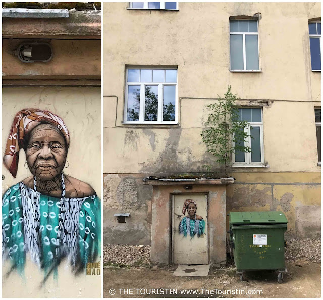 Collage Street Art by French artist Guaté Mao. Woman. Vilnius The Touristin s