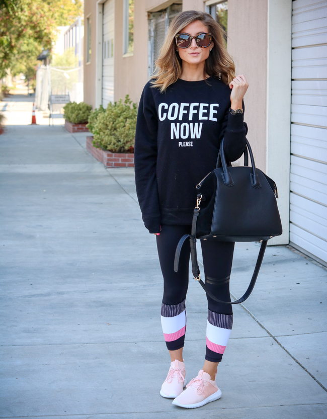 brunette the label coffee now please sweatshirt with lilybod leggings