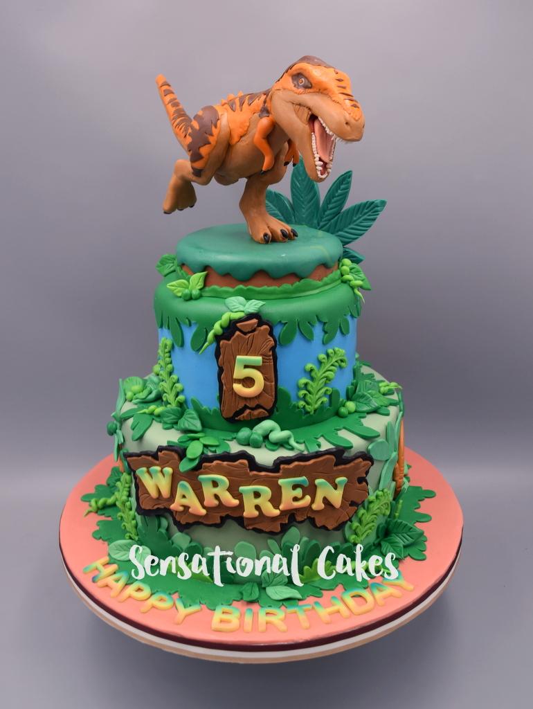 Jurassic Park Inspired Dinosaur 3d Sugar Handcrafted Boys Birthday Theme Cake Singapore Dinocake