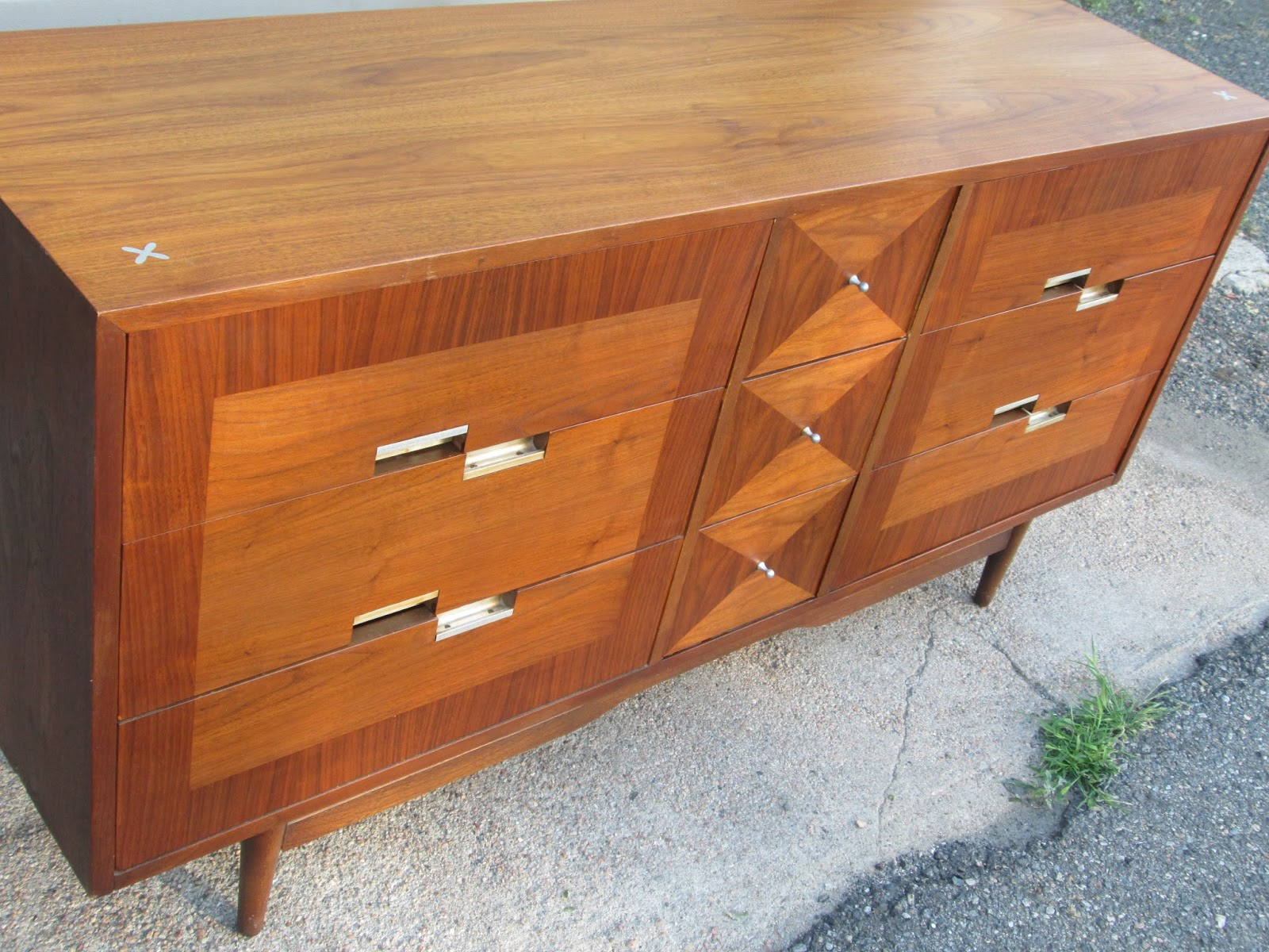 American Of Martinsville Low 9 Drawer Dresser Red Mint Sold