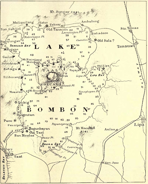 Map of Taal Lake c. 1911 extracted from The Eruption of Taal Volcano: January 30, 1911 by Rev. Miguel Saderra Maso SJ.
