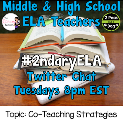 Join secondary English Language Arts teachers Tuesday evenings at 8 pm EST on Twitter. This week's chat will be about co-teaching.