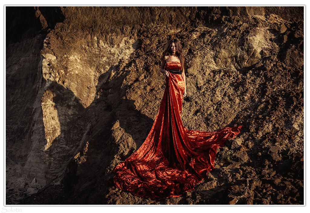 фотосессия в платье из штор