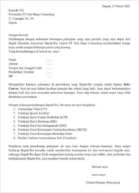 Contoh Application Letter Sales Canvas (Fresh Graduate)
