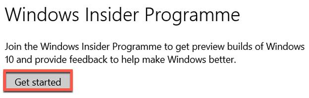 Windows Insider Programme Get started