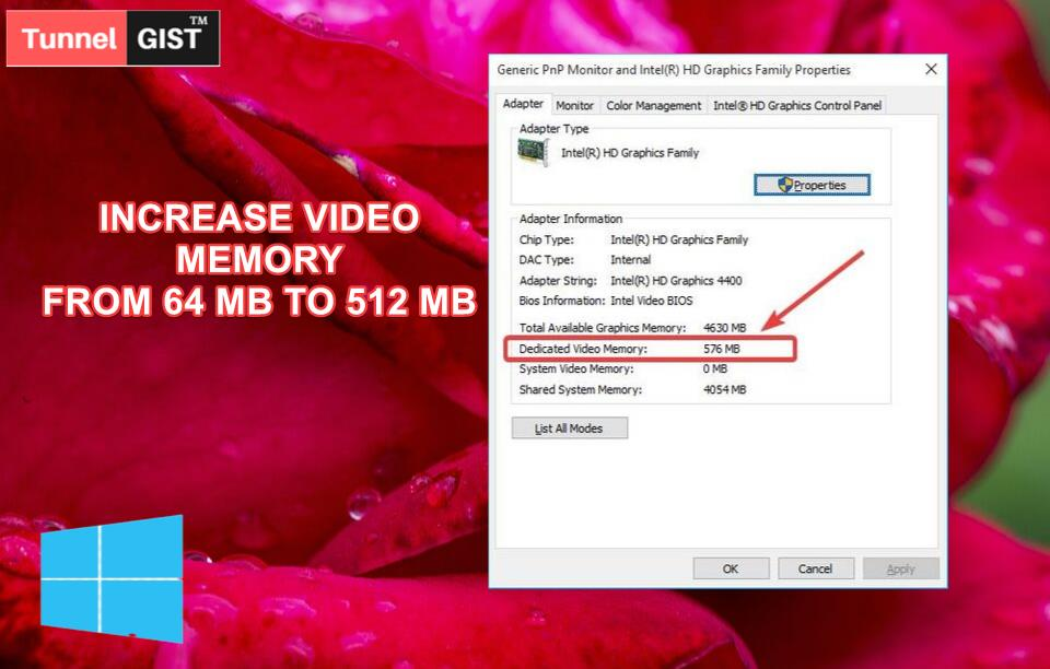 how to increase dedicated video memory from 64 MB to 512 MB without bios