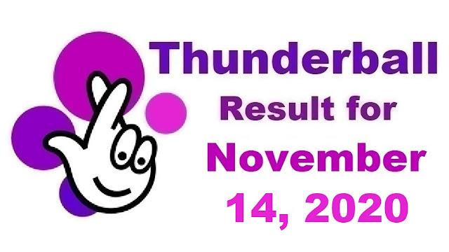 Thunderball Results for Saturday, November 14, 2020