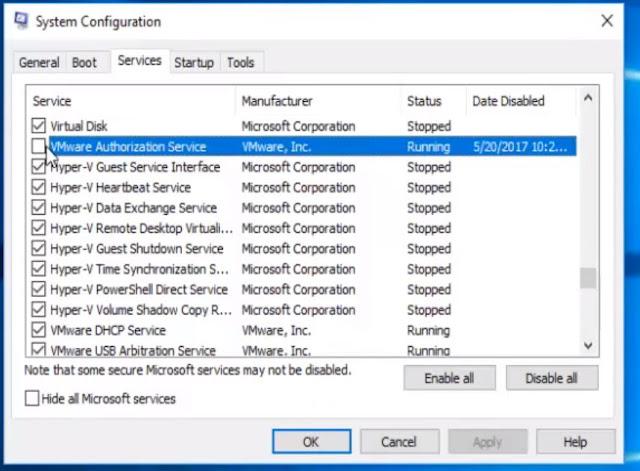 بالذهاب الى Services ومن ثم تفعيل خيار VMware Authorization Service