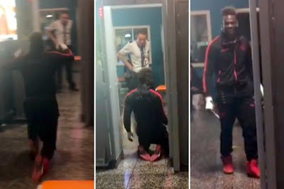 Controversial Player Mario Balotelli Slides Through Airport Security On His Knees [Photos]
