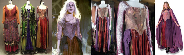 Left to right: the three original costumes from Hocus Pocus, then details of the one worn by Sarah Jessica Parker playing Sarah Sanderson.