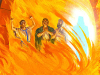 an illustration that shows Shadrach, Meshach and Abednego praying in the fiery furnace as told in the book of Daniel courtesy of freebibleimages.org