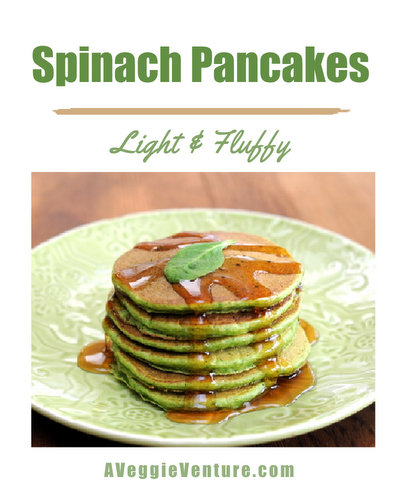 Spinach Pancakes ♥ AVeggieVenture.com, light and fluffy whole-wheat pancakes with fresh spinach.