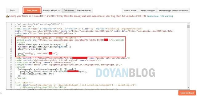 kemudian paste kode tracking id lalu save