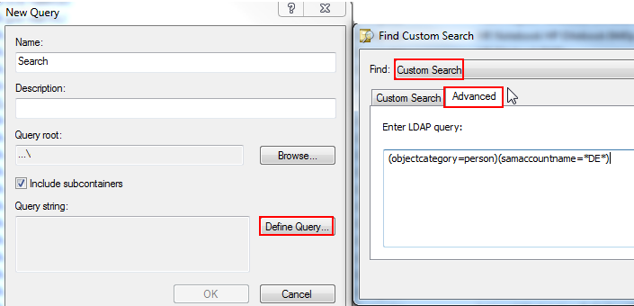 Directory Admin: ADUC: Create a custom LDAP Query
