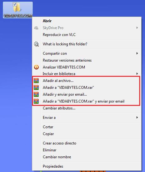 Menú contextual de WinRAR