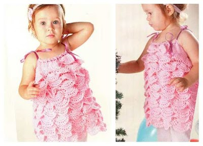 Vestido infantil ondas-volantes crochet patron