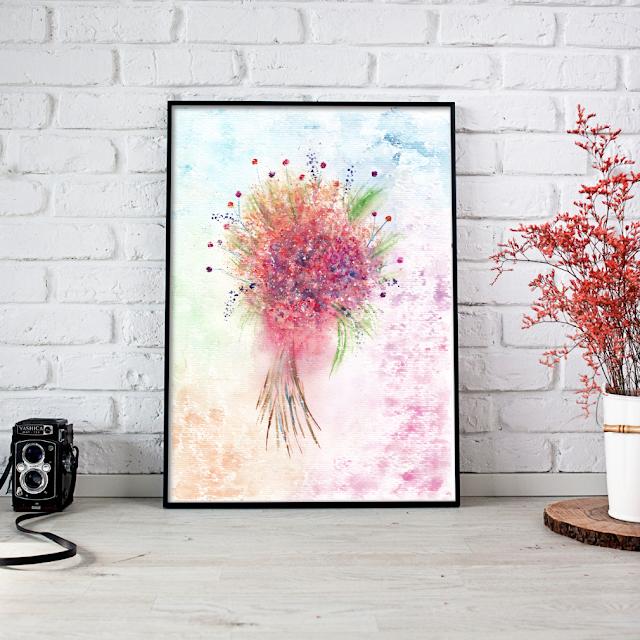 Watercolor Loose Flower Bouquet
