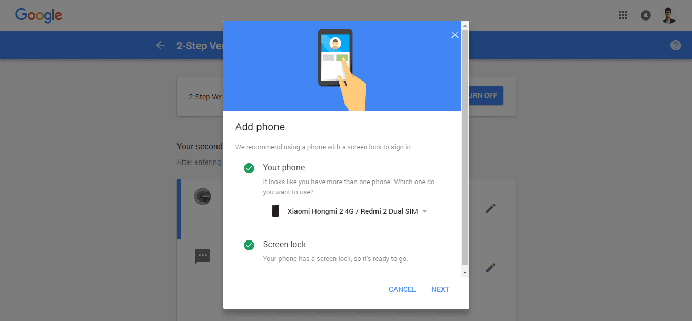 Add phone Google prompt