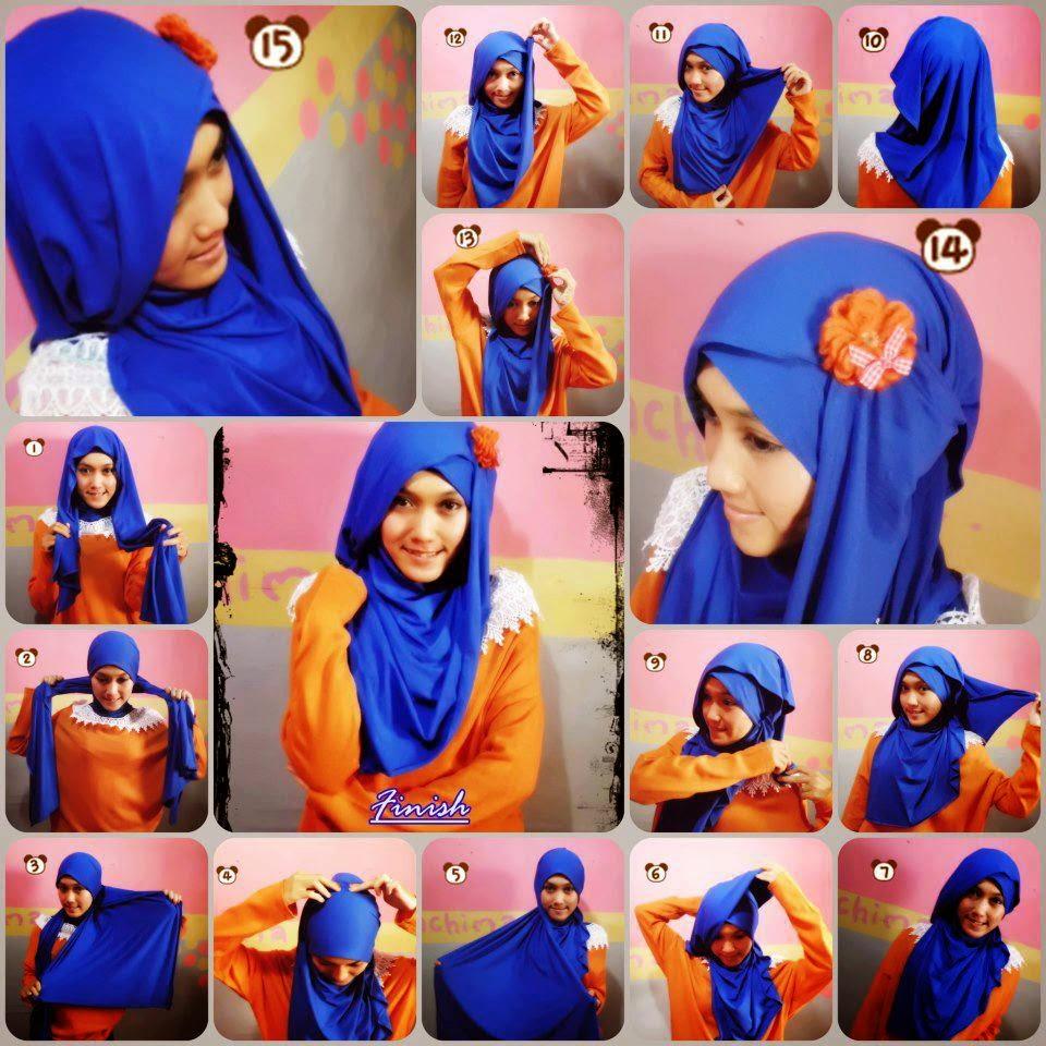 28 Foto Tutorial Hijab Paris Pita Paling Update Jilbab Depan Cara Memakai Modern Bunga