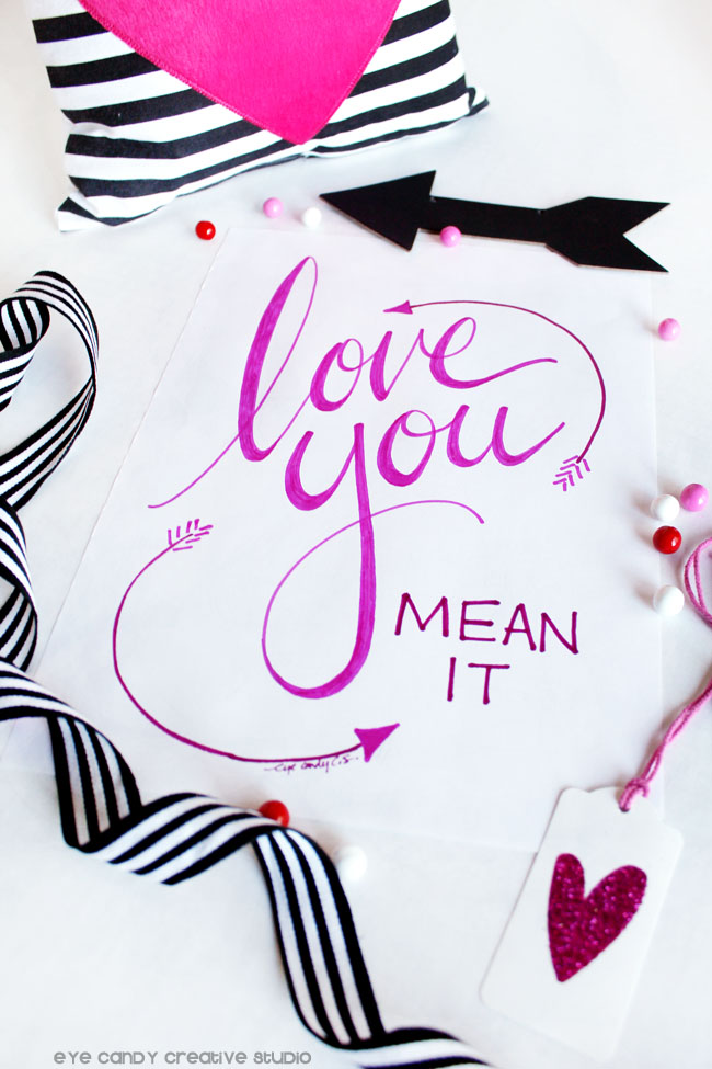 valentines day art, black and whote stripes, love you artwork, pink glitter heart