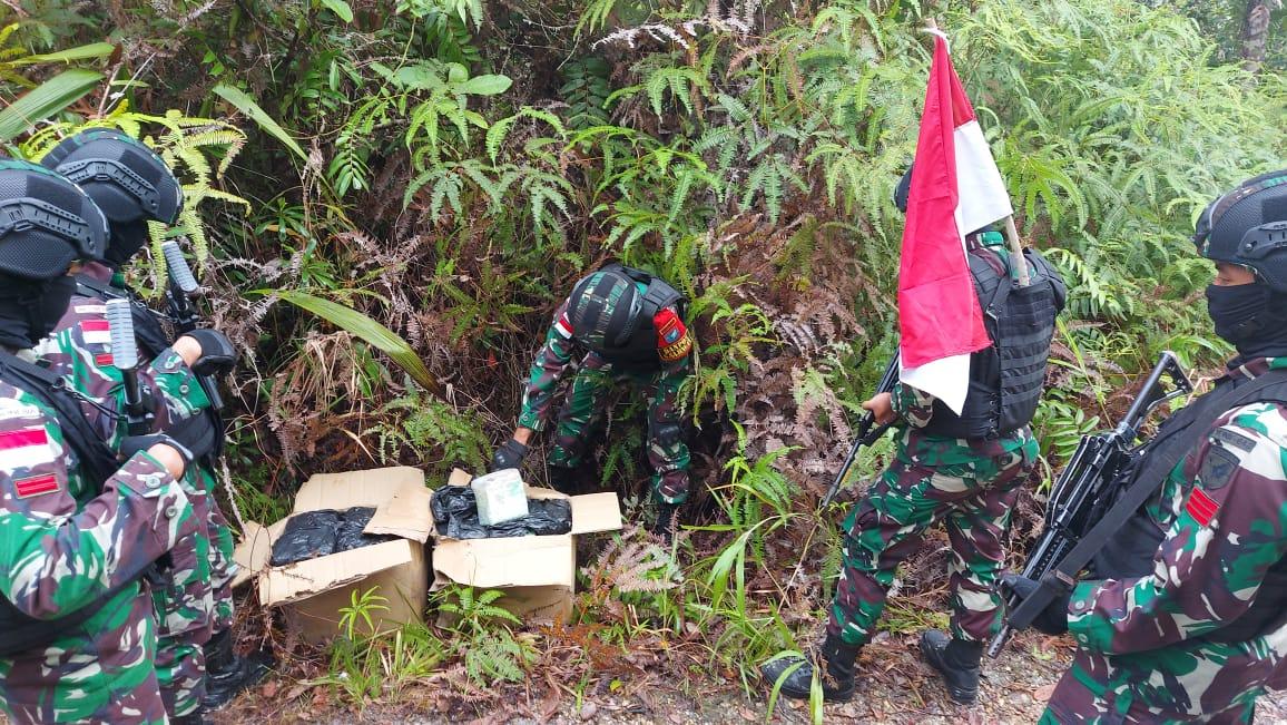 Patroli Jalur Ilegal, Satgas Pamtas Berhasil Amankan 42,928 Kg Narkoba