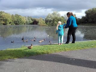 Feeding ducks in a park in Carlisle