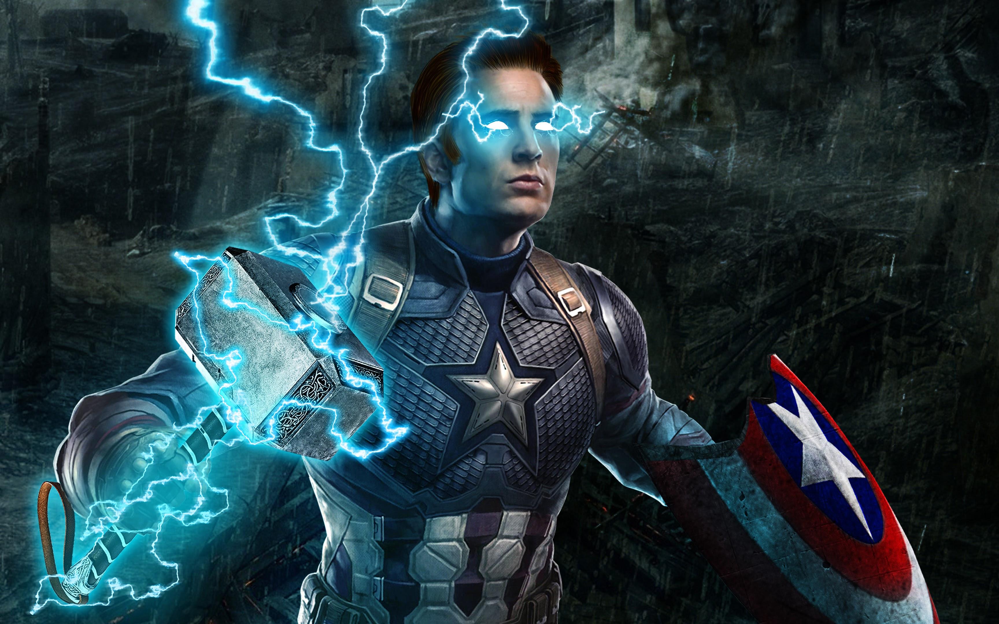 Avengers: Endgame, Captain America, Thor Hammer, Lightning ...