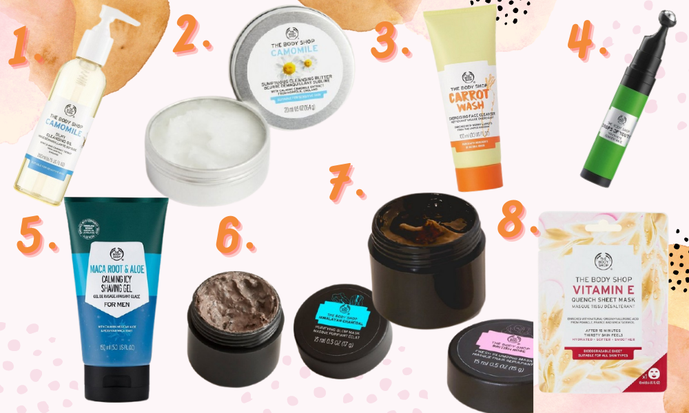 Collage showing a range of products from the body shop