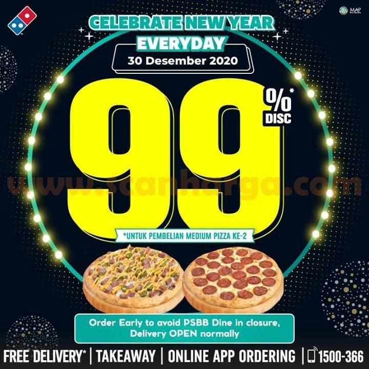 DOMINOS PIZZA Celebrate New Year – Diskon 99% untuk Pizza Kedua