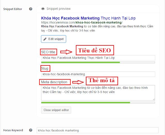 Thêm tiêu đề SEO, Slug, Thẻ mô tả cho bài viết chuẩn SEO