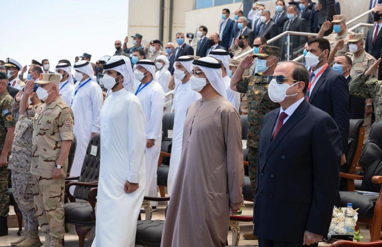محمد بن زايد يشهد مراسم حفل افتتاح قاعدة 3 يوليو مصر Egypt العسكرية بمنطقة جرجوب