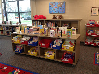 Renovated school library in Huron, SD: Shelving displays