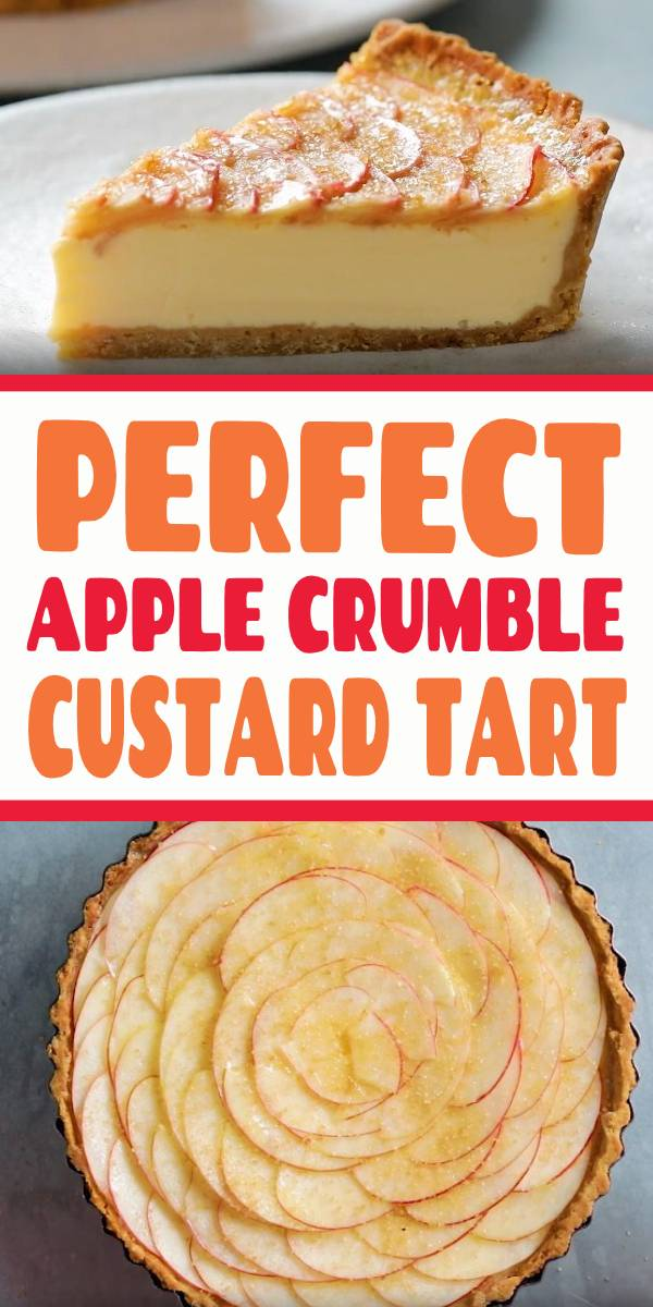 An Apple Crumble mixed with Custard made into a tart. Delish. Ever wondered what an apple crumble tart would taste like with a custard filling? This easy recipe will become your best go-to dessert for any occasion, summer and fall alike. #apple #crumble #tart #applepie #pie
