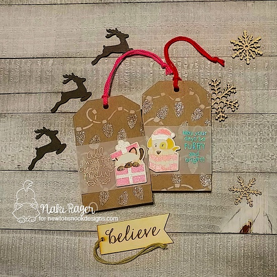 Cat and Dog Christmas Tags by Naki Rager | Puppy Present Stamp Set, Purr-fect Present Stamp Set and Fancy Edges Tag Die Set by Newton's Nook Designs #newtonsnook #handmade