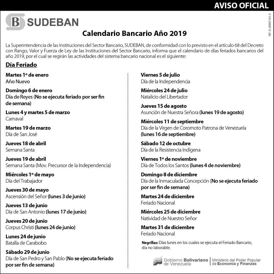 Calendario oficial bancario de Sudeban. Lunes bancarios. Días festivos de Venezuela en el 2019. Días feriados de Venezuela en el 2019. Calendario bancario de Venezuela 2019 Lunes-bancarios-Días-festivos-de-Venezuela-en-el-2019-Días-feriados-de-Venezuela-en-el-2019-Calendario-bancario-de-Venezuela-2019-Calendario-SUDEBAN-2019