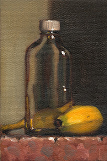 Still life oil painting of a small sample bottle beside a banana.