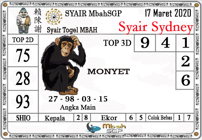 Prediksi Togel Sidney Selasa 17 Maret 2020 - Syair Mbah Sydney