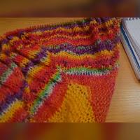 A multicoloured shawl in close up
