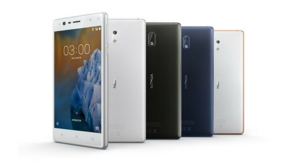 Nokia 3 comes in black, blue, copper and silver color variants