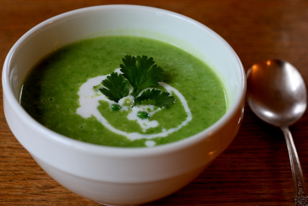 ben and birdy: Green, Green Pea Soup with Ginger and Cilantro